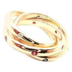 Cartier Trinity Ruby Sapphire Diamond Yellow Gold Band Ring