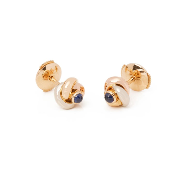 Women's Cartier Trinity Sapphire Cabochon Knot Stud 18 Carat Gold Earrings For Sale