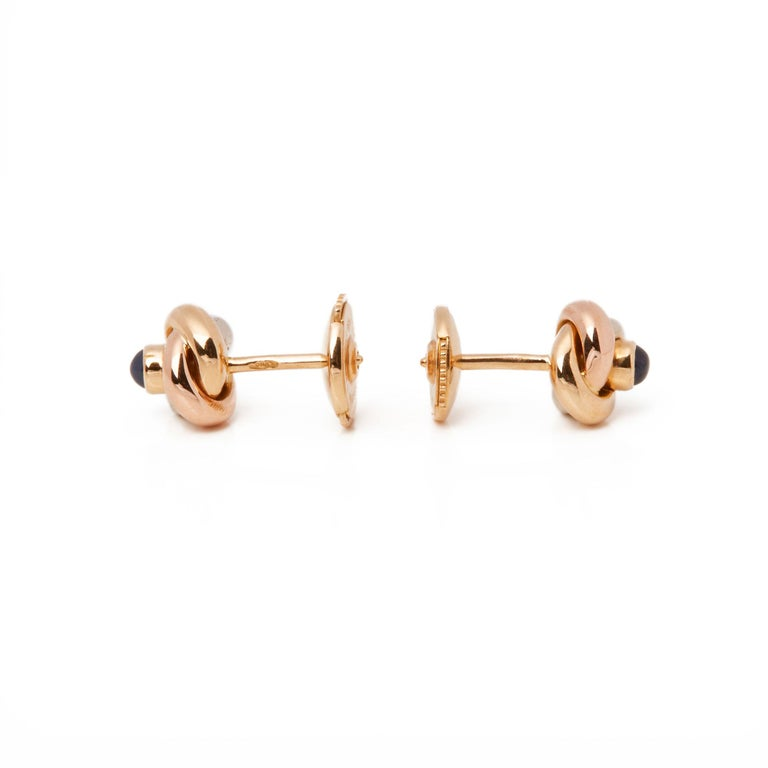 Cartier Trinity Sapphire Cabochon Knot Stud 18 Carat Gold Earrings For Sale 2