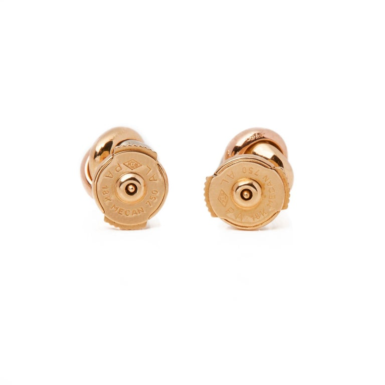 Cartier Trinity Sapphire Cabochon Knot Stud 18 Carat Gold Earrings For Sale 3