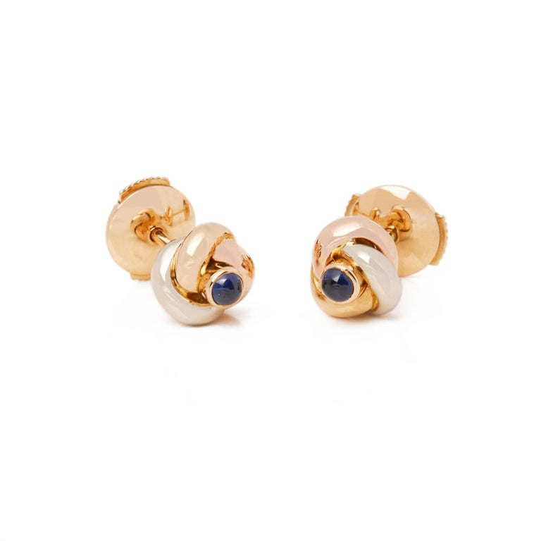 Cartier Trinity Sapphire Cabochon Knot Stud 18 Carat Gold Earrings For Sale 4