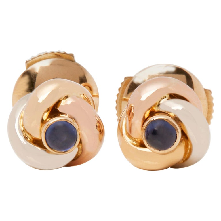 Cartier Trinity Sapphire Cabochon Knot Stud 18 Carat Gold Earrings For Sale
