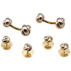 Cartier Trinity Three-Color 18 Karat Gold Knot Cufflink Stud Set