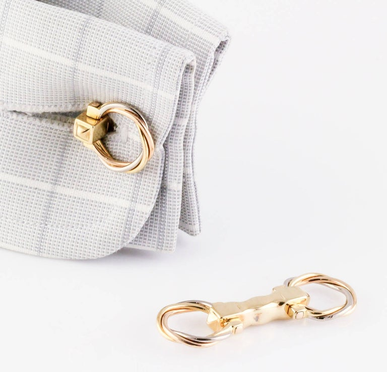 Cartier Trinity Three-Color Gold Folding Cufflinks For Sale 2