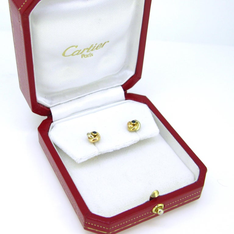 Contemporary Cartier Trinity Three Gold Cabochon Sapphire Studs Earrings For Sale