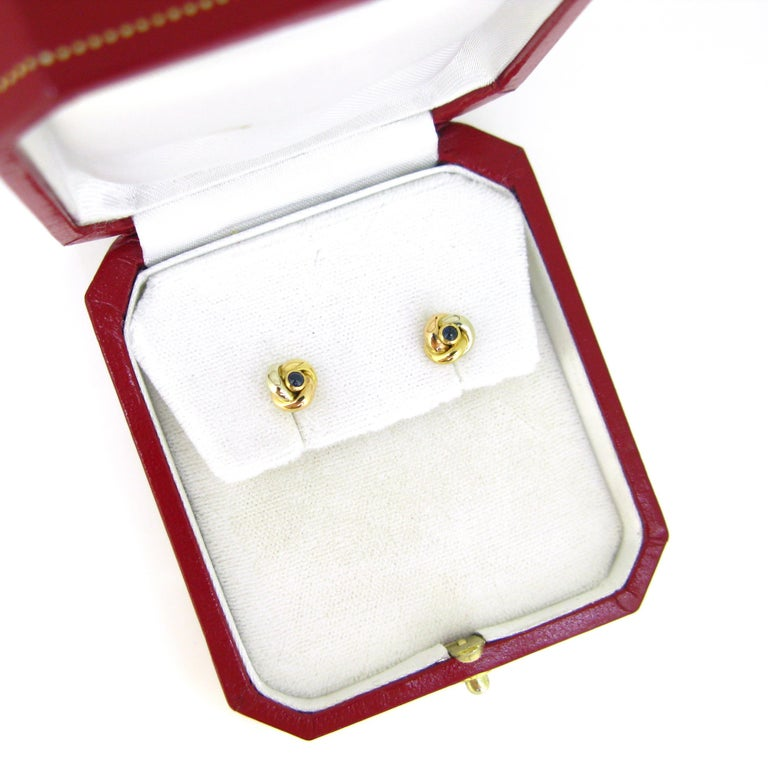 Cartier Trinity Three Gold Cabochon Sapphire Studs Earrings In Good Condition For Sale In London, GB