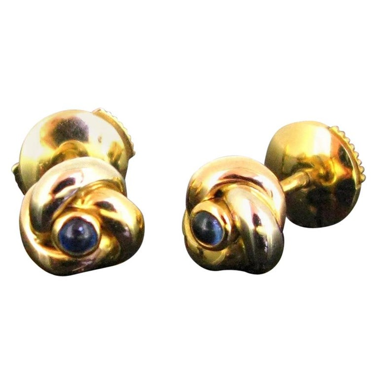 Cartier Trinity Three Gold Cabochon Sapphire Studs Earrings For Sale