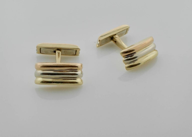 Cartier Trinity Tri Color 18k Cufflinks Circa 1980's