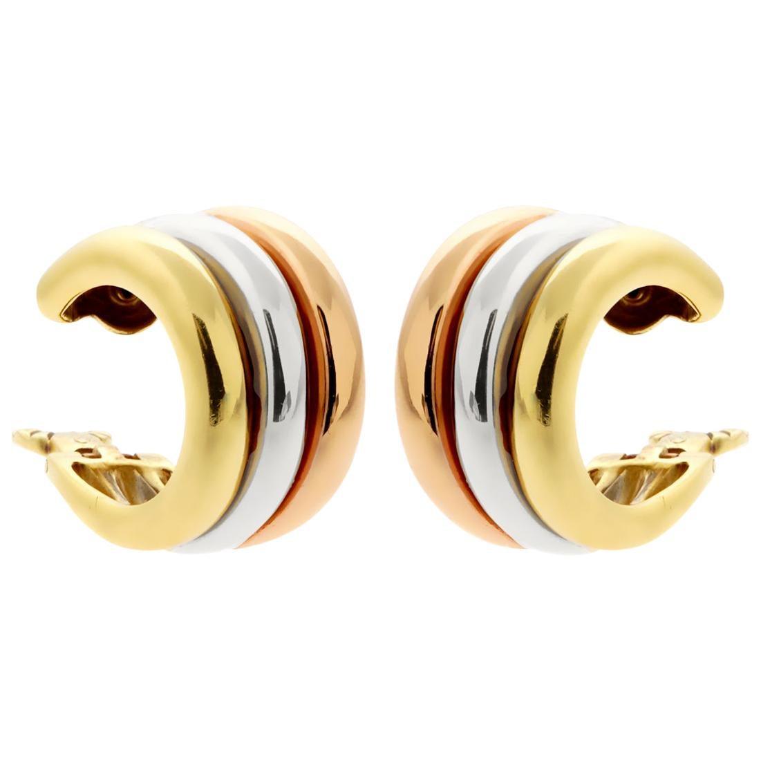 Cartier Trinity Tri Color 18 Karat Gold Hoop Earrings
