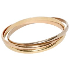 Cartier Trinity Tri-Color Bangle, Bracelet 18 Karat Rose, White and Yellow Gold