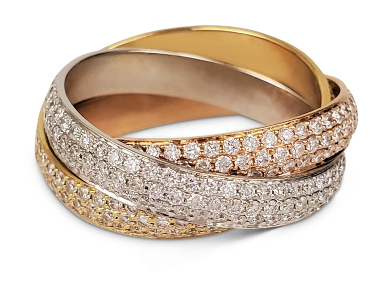 Modern Cartier 'Trinity' Tri-Color Gold and Diamond Pave Ring