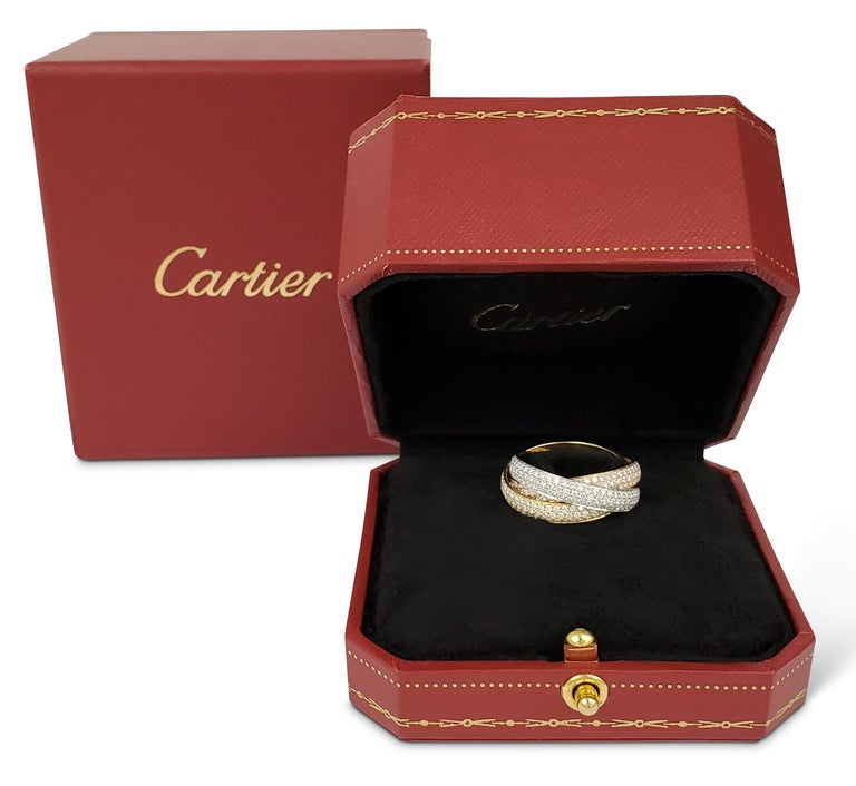 Round Cut Cartier 'Trinity' Tri-Color Gold and Diamond Pave Ring