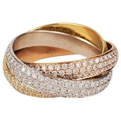 Cartier 'Trinity' Tri-Color Gold and Diamond Pave Rolling Ring