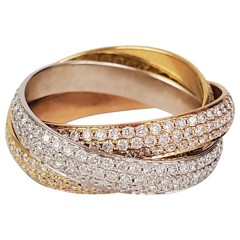 Cartier 'Trinity' Tri-Color Gold and Diamond Pave Ring