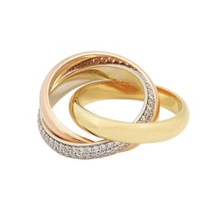 Cartier Trinity Tri-Color Gold and Diamond Pave Rolling Band Ring
