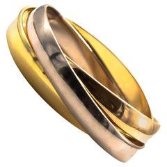 Cartier Trinity Tri-Color Gold Bangle Bracelet 18 Karat Rose Yellow White Gold