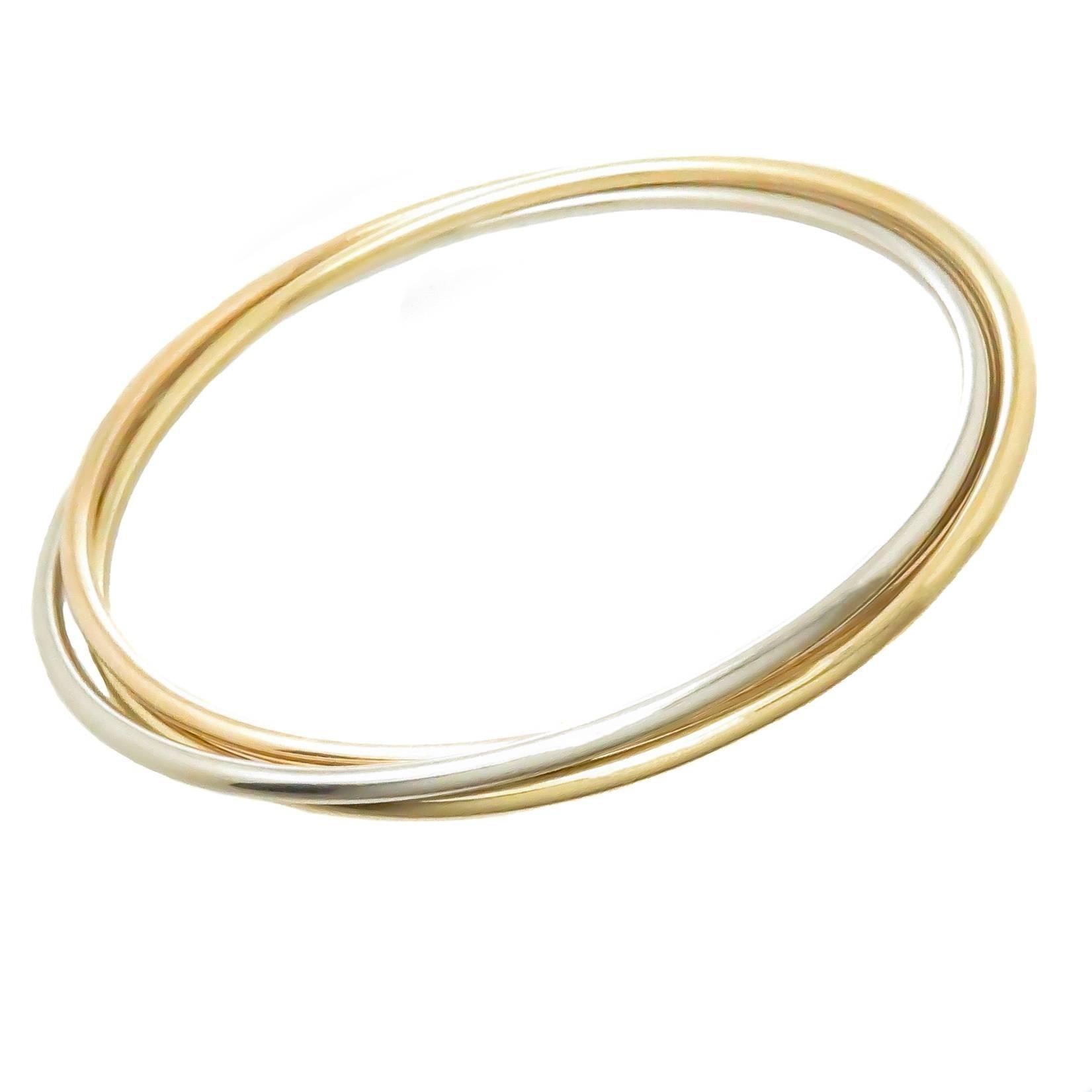 Cartier Trinity Tri Color Gold Bangle Bracelet, 1980