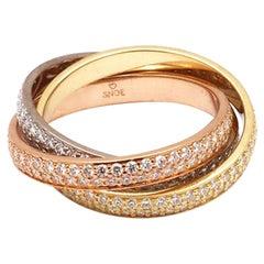 Cartier Trinity Tri-Color Gold Diamond Ring