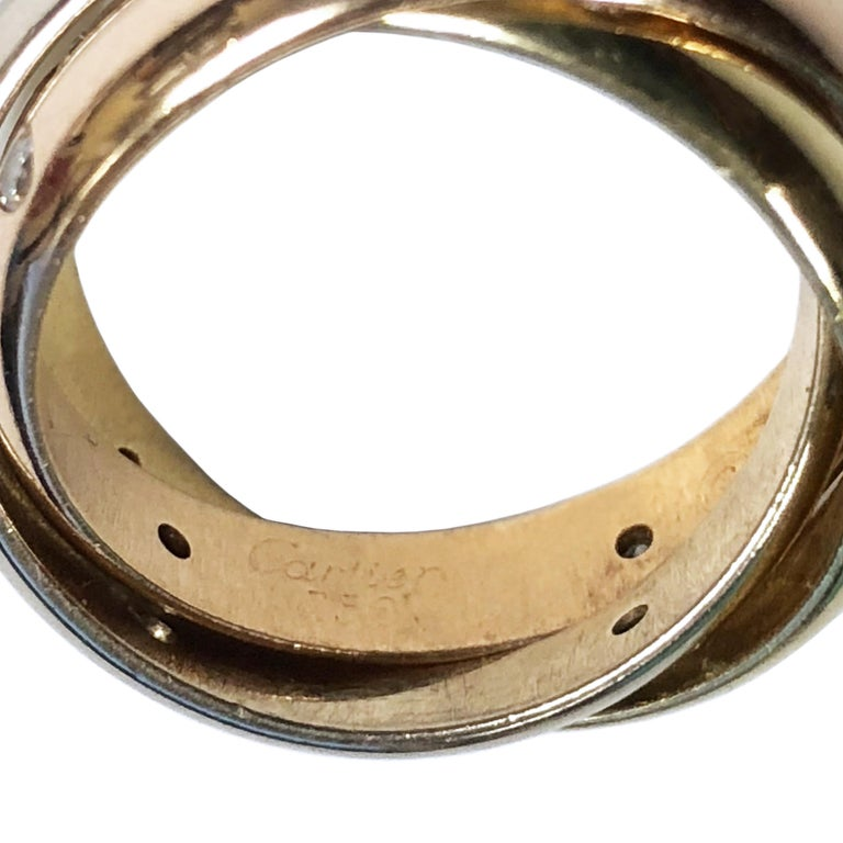 Cartier Trinity Tri Color Gold Diamond Set Band Ring In Excellent Condition For Sale In Chicago, IL