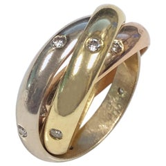Cartier Trinity Tri Color Gold Diamond Set Band Ring