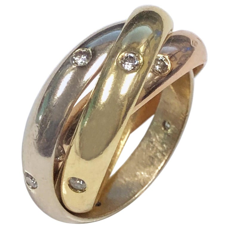 Cartier Trinity Tri Color Gold Diamond Set Band Ring For Sale