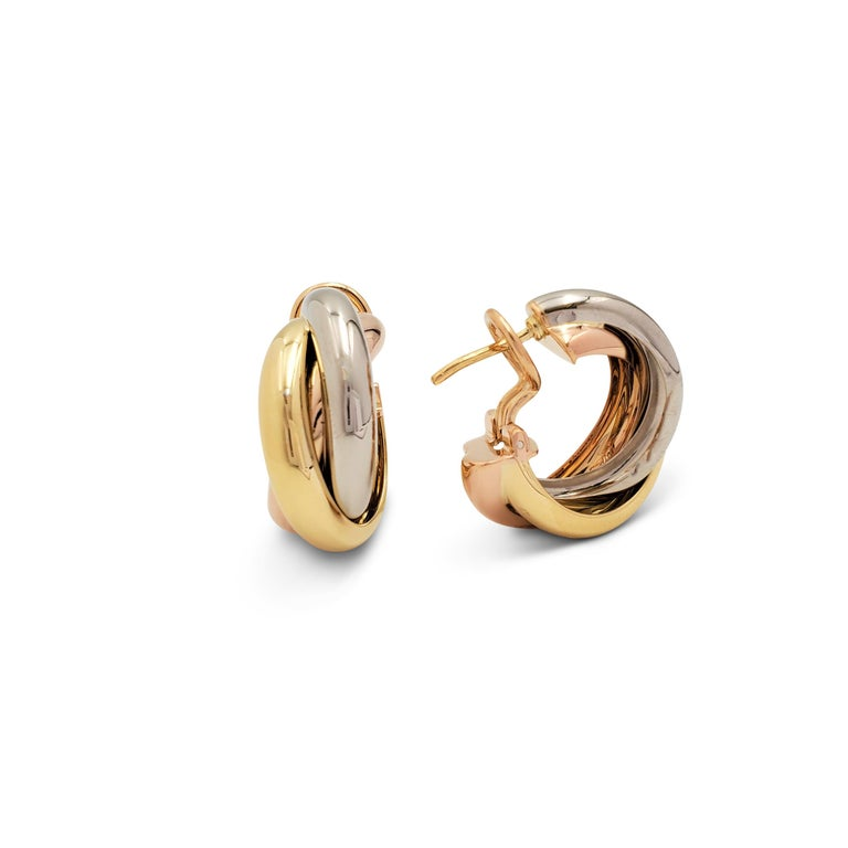 Cartier 'Trinity' Tri-Color Gold Earrings In Excellent Condition In New York, NY
