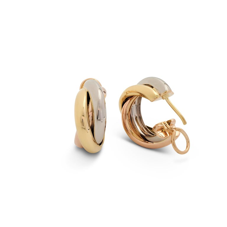 Women's Cartier 'Trinity' Tri-Color Gold Earrings