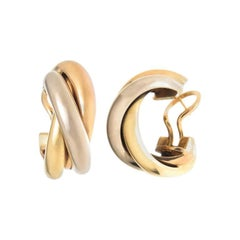 Cartier Trinity Tri Color Gold Hoop Earrings