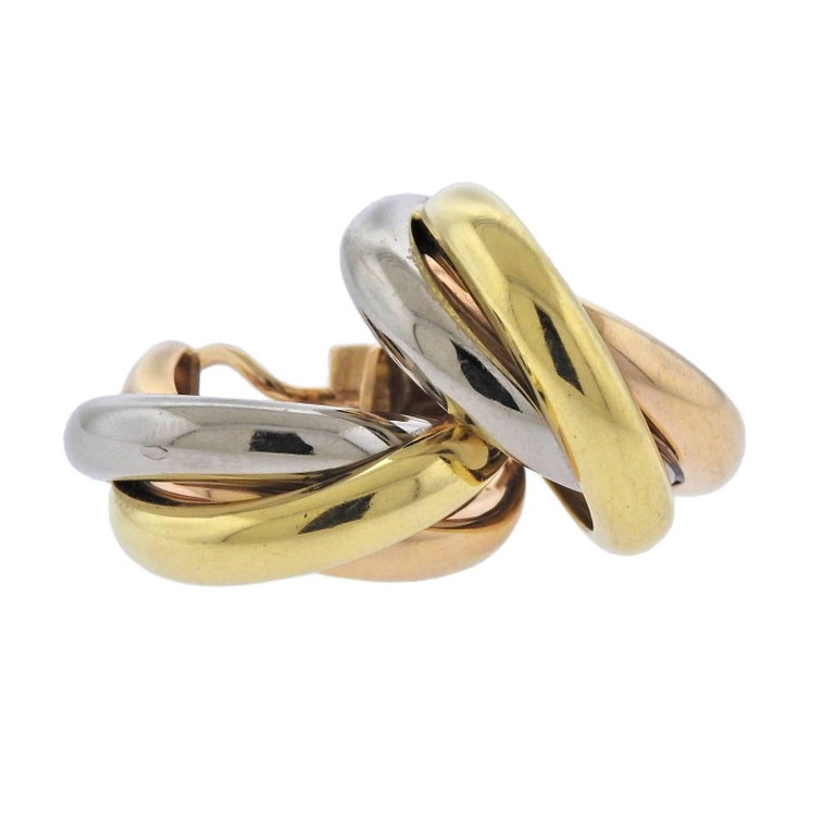 Cartier Trinity Tri-Color Gold Hoop Earrings