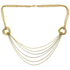 Cartier Trinity Tri Color Gold Multi Strand Waterfall Necklace