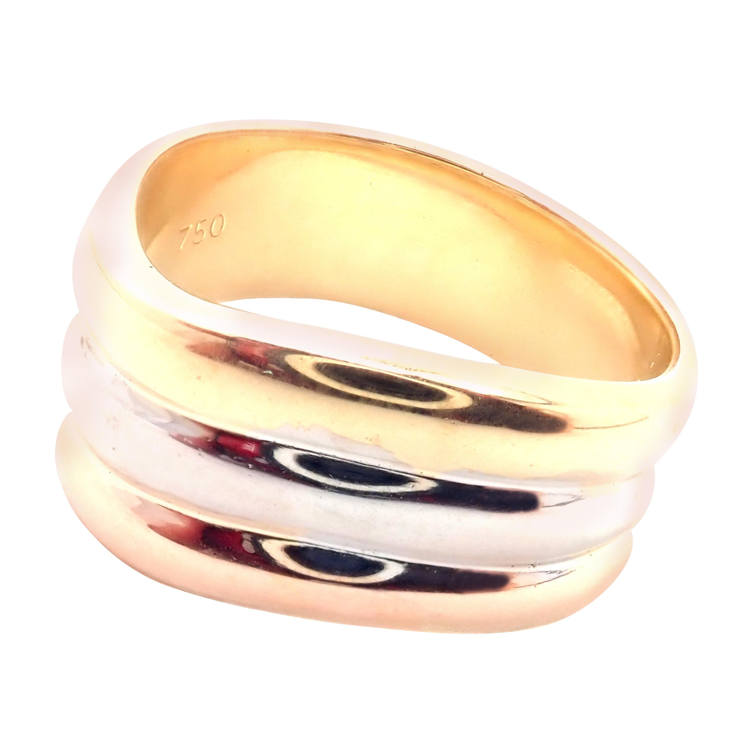 Cartier Trinity Tri-Color Gold Wide Band Ring