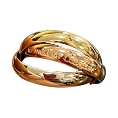 Cartier Trinity Tri-Color White, Yellow Rose, 18 Karat Gold Rolling Rings