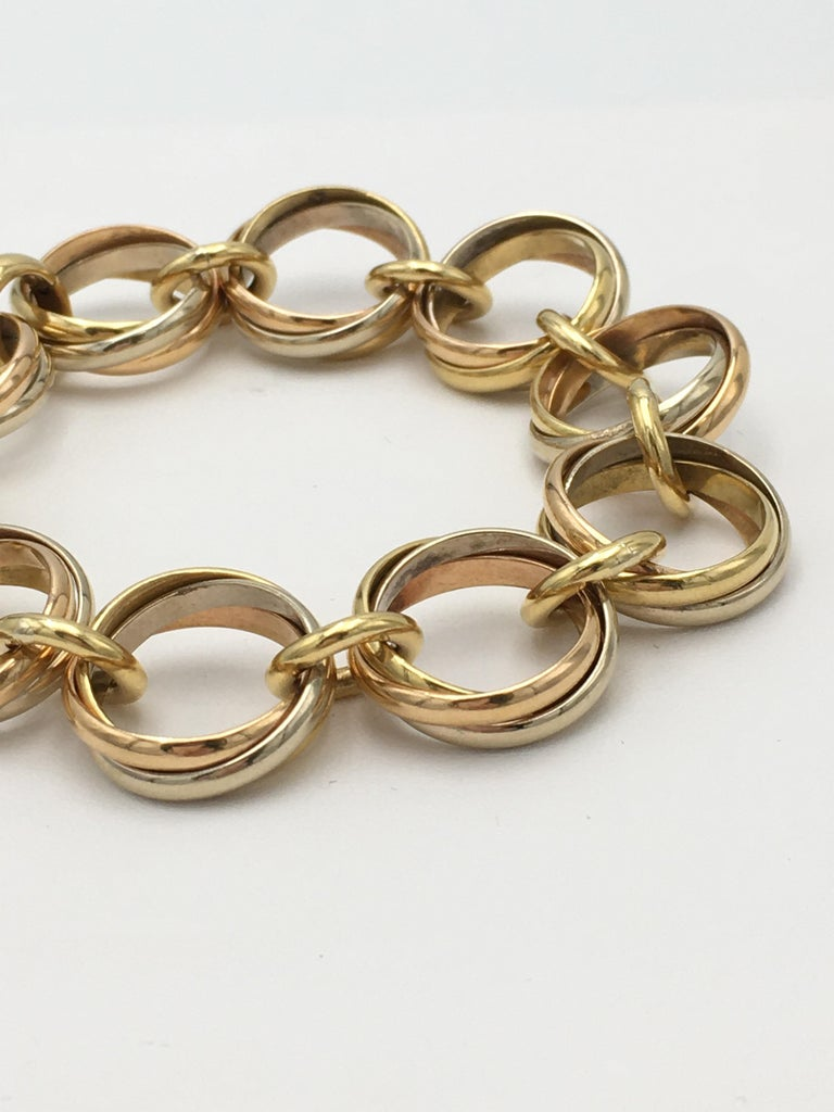 Cartier Trinity Tri-Colored Gold Link Bracelet In Excellent Condition For Sale In New York, NY