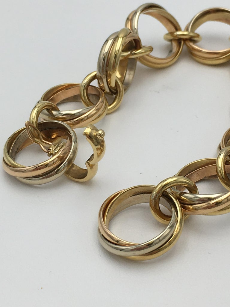 Women's or Men's Cartier Trinity Tri-Colored Gold Link Bracelet For Sale