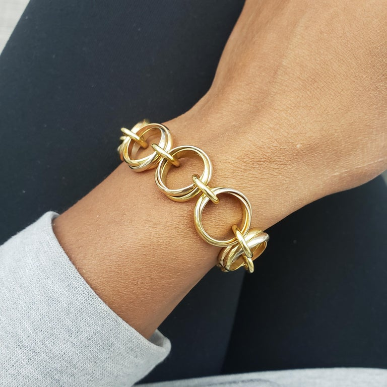 Cartier Trinity Tri-Colored Gold Link Bracelet For Sale 2
