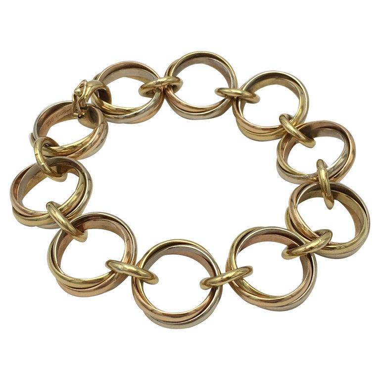 Cartier Trinity Tri-Colored Gold Link Bracelet For Sale
