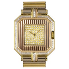 Cartier Trinity Tri-Gold Champagne Pave Diamond Dial Watch