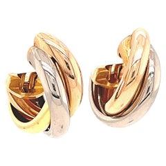 Cartier Trinity Tricolor 18 Karat Gold Earrings