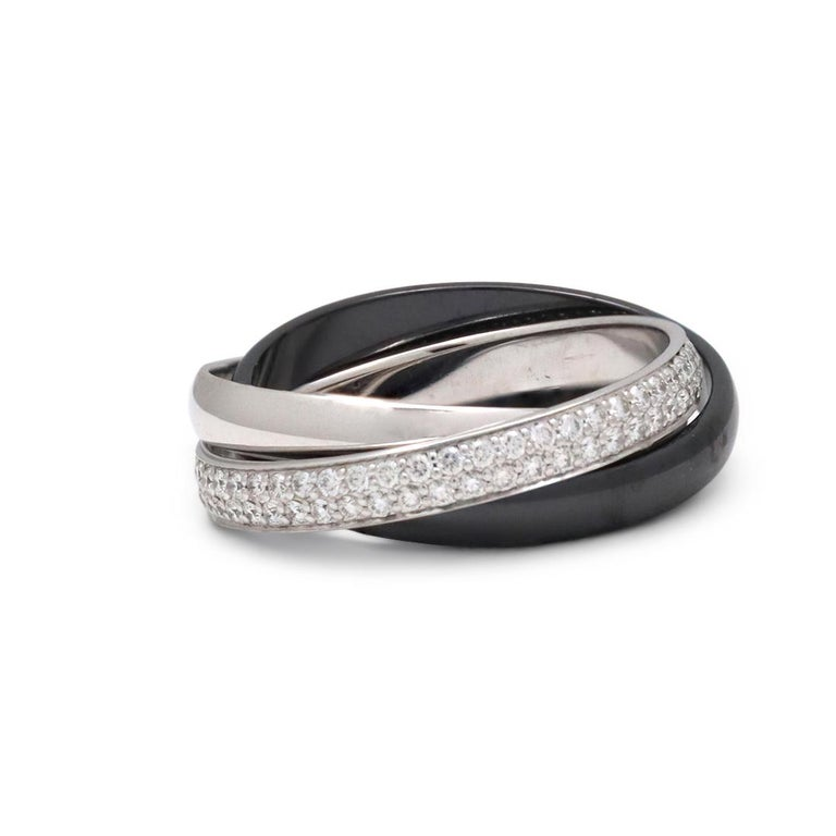 Cartier Trinity White Gold, Ceramic and Diamond Pave Rolling Ring In Excellent Condition For Sale In New York, NY