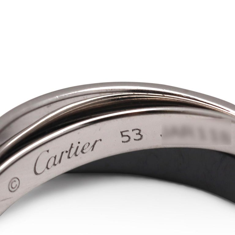 Women's or Men's Cartier Trinity White Gold, Ceramic and Diamond Pave Rolling Ring For Sale