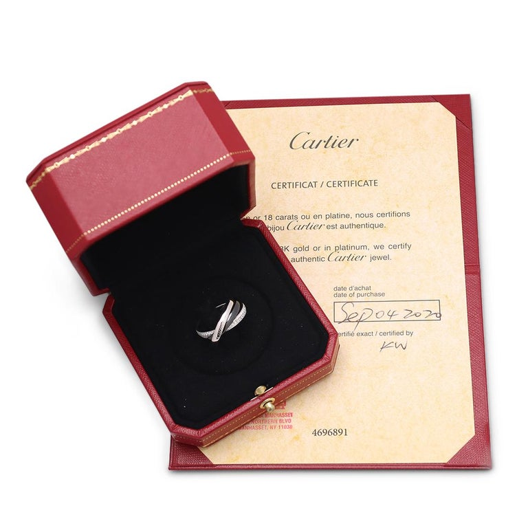 Cartier Trinity White Gold, Ceramic and Diamond Pave Rolling Ring For Sale 3