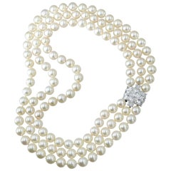 Cartier Triple Strand Cultured Pearl Necklace and Diamond Necklace