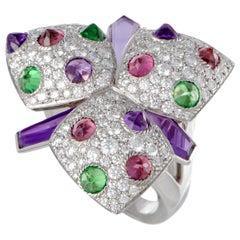 Cartier Tsavorite, Pink Tourmaline, Amethyst and Diamond Gold Flower Ring
