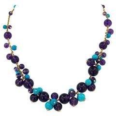 Cartier Turquoise, Amethyst, Diamond Delice de Goa Necklace