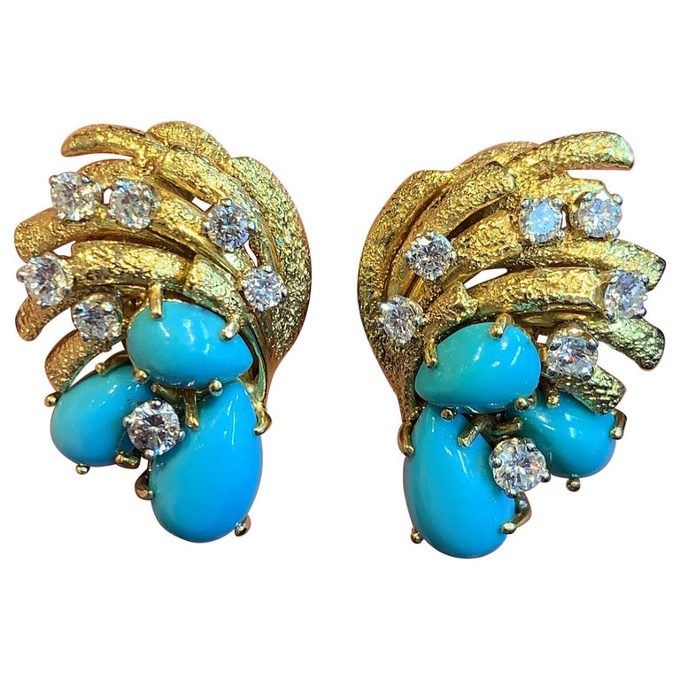 Cartier Turquoise and Diamond Earrings For Sale
