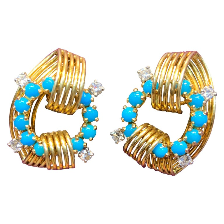 Cartier Turquoise and Diamond Gold Earrings For Sale