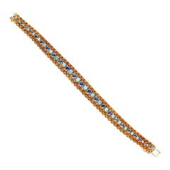 Cartier Turquoise and Sapphire Bracelet, 18 Karat Gold