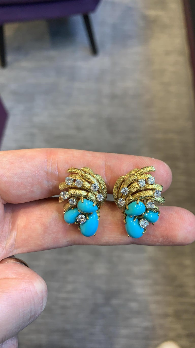 Cartier Turquoise & Diamond Earrings, 18K Yellow Gold  6 cabochon Turquoise 14 round cut diamonds Measurements: 1