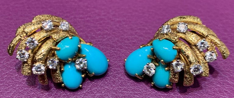 Cartier Turquoise and Diamond Earrings In Excellent Condition For Sale In New York, NY