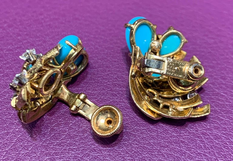 Women's Cartier Turquoise and Diamond Earrings For Sale